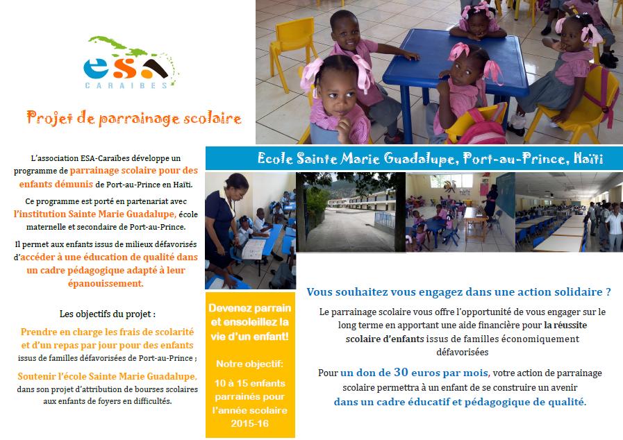 Projet de parrainage scolaire ESA-Caraïbes